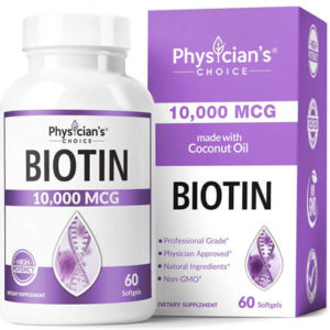Biotin 10000mcg with Coconut Oil by Physician's CHOICE