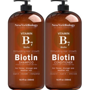 Biotin Shampoo and Conditioner Set by New York Biology the Ultimate Cosmeceuticals