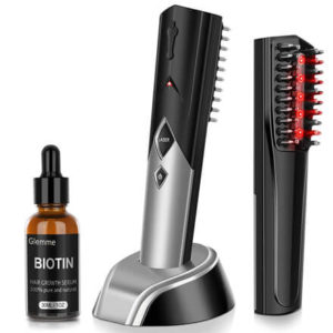 Laser Hair Growth Comb Brush with Biotin Hair Growth Serum by Glemme