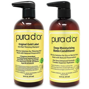 Biotin Original Gold Label Anti-Thinning Shampoo & Conditioner Set by PURA D'OR